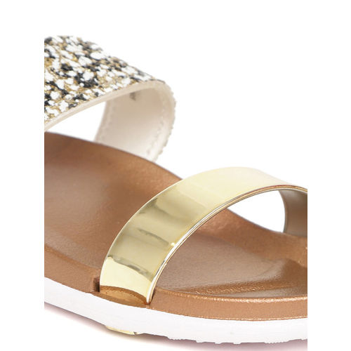 Carlton London Women Gold-Toned Solid Synthetic Open Toe Flats