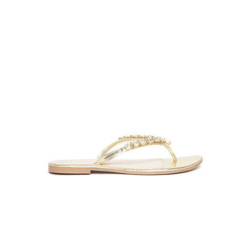 Carlton London Women Gold-Toned Solid Embellished Open Toe Flats