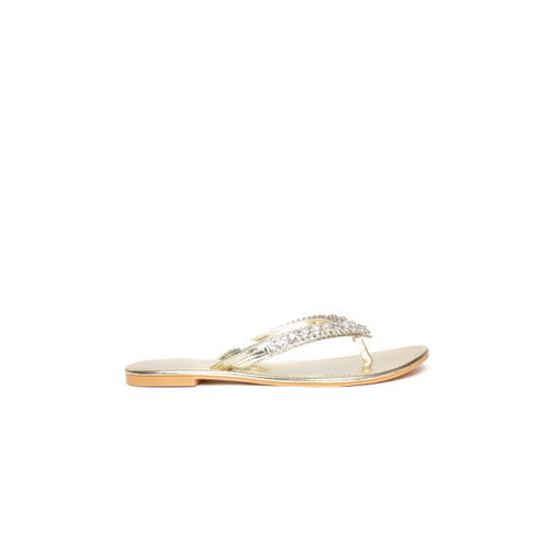 Carlton London Women Gold-Toned Embellished Flats