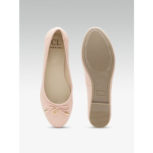 Carlton London Women Peach-Coloured Solid Ballerinas