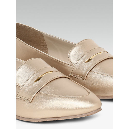 Carlton London Women Gold-Toned Solid Ballerinas