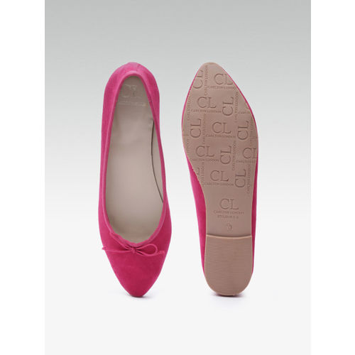 Carlton London Women Pink Solid Ballerinas with Bow Detail