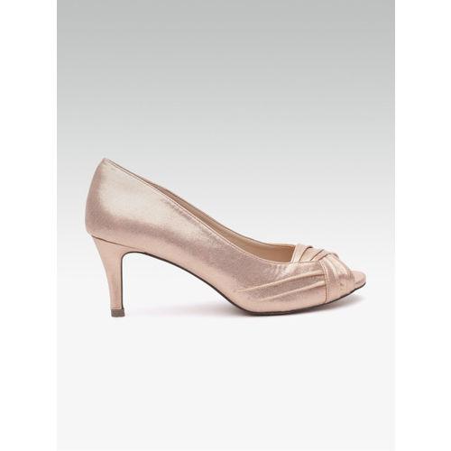 48dea293d0 Buy Carlton London Women Rose Gold-Toned Solid Peep Toes online ...