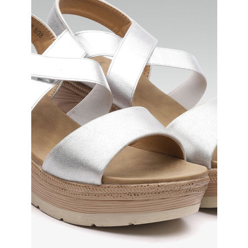 Carlton London Women Silver-Toned Solid Wedges