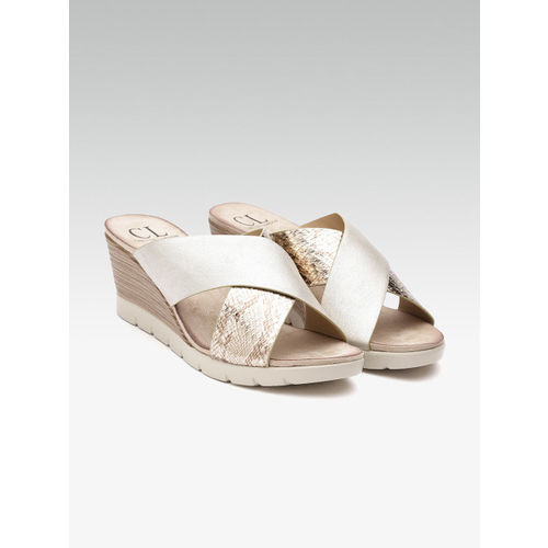 Carlton London Women Silver & Gold-Toned Printed Wedges