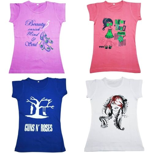Diaz Girls Printed Cotton T Shirt