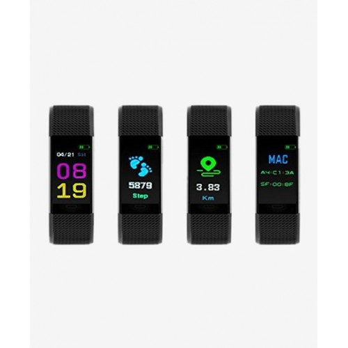 Bingo Black Unisex F0S LCD Smart Fitness Band