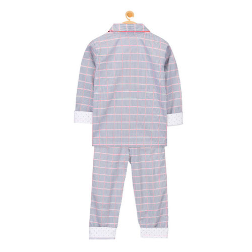 Cherry Crumble Unisex Blue Checked Night suit WS-NSUIT-7148
