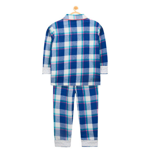 Cherry Crumble Kids Blue Checked Night suit WS-NSUIT-7104