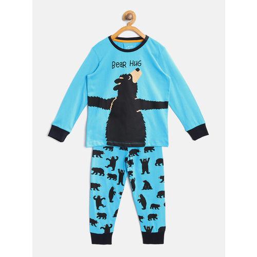 Lazy Shark Boys Blue & Black Printed Night Suit BDRS0092