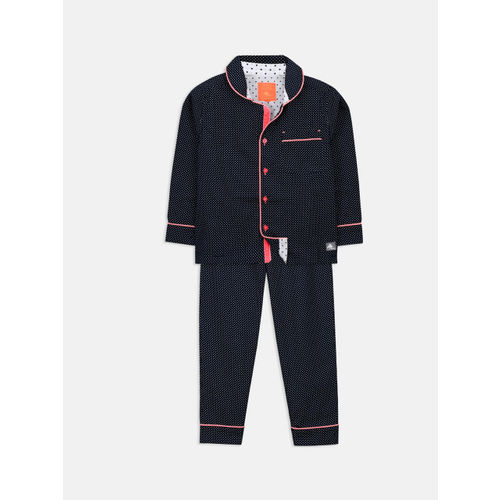 Cherry Crumble Unisex Navy Blue Printed Night suit WS-NSUIT-7138