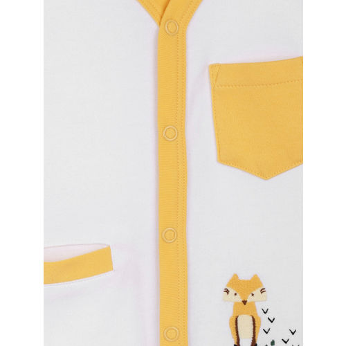YK Organic Boys White & Yellow Night suit