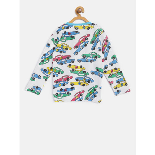 Lazy Shark Boys White & Blue Printed Night Suit