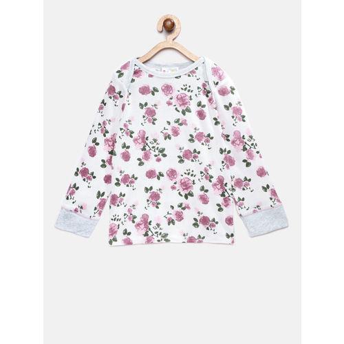Eimoie Girls Off-White & Pink Printed Night Suit 2390_OFWHT