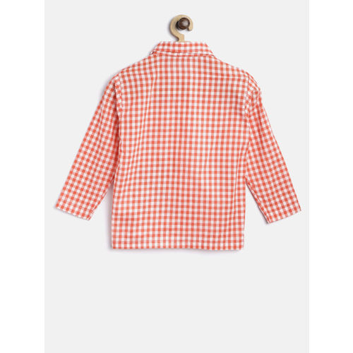 Kids Clan Peach-Coloured & White Checked Night Suit KCN-7A