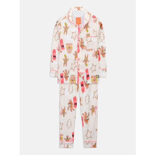 de757538b9f Buy Cherry Crumble Unisex Off-White Printed Night suit WS-NSUIT-7108 ...