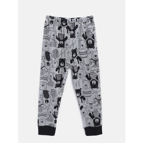 Lazy Shark Boys Grey Melange & Black Printed Night Suit LSNF0013-67