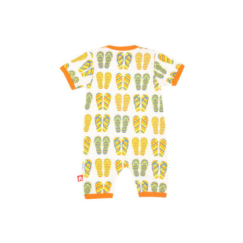 Nino Bambino Boys White & Orange Printed Rompers
