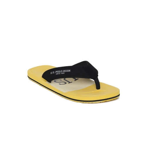 U.S. Polo Assn. Men Black & Yellow ADOLFITO Printed Thong Flip-Flops