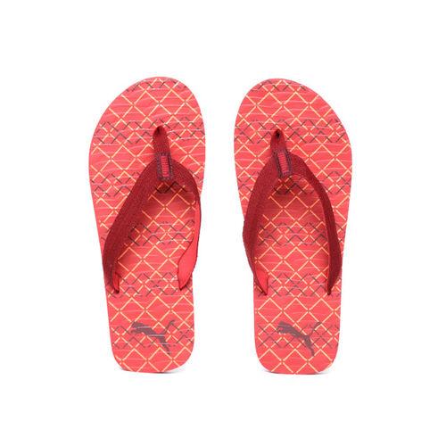 Puma Men Red & Orange Mazo Graphic IDP Printed Thong Flip-Flops