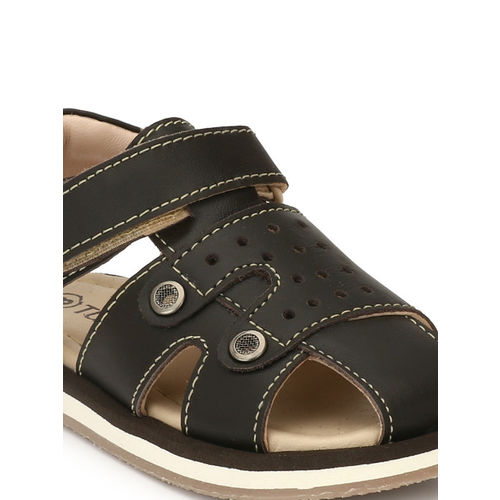 TUSKEY Boys Coffee Brown Genuine Leather Comfort Sandals