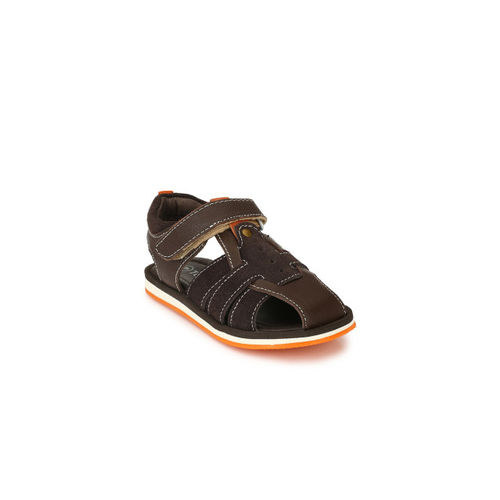 TUSKEY Boys Coffee Brown Genuine Leather Fisherman Sandals
