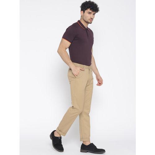 Allen Solly Men Beige Smart Slim Fit Solid Regular Trousers
