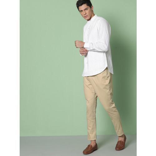 House of Pataudi Men Beige Regular Fit Solid Regular Trousers