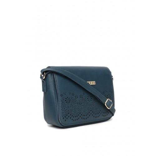 Caprese Teal Blue Solid Sling Bag