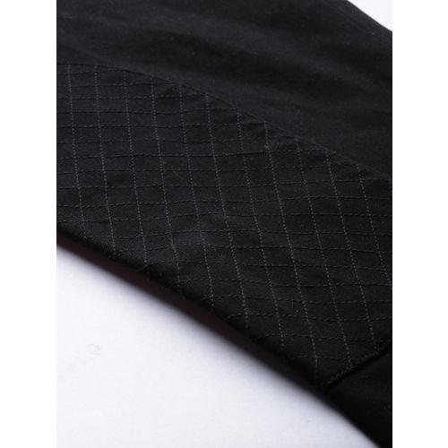House of Pataudi Men Black Regular Fit Solid Regular Trousers