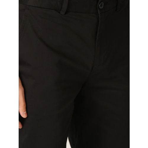 United Colors of Benetton Men Black Slim Fit Solid Regular Trousers