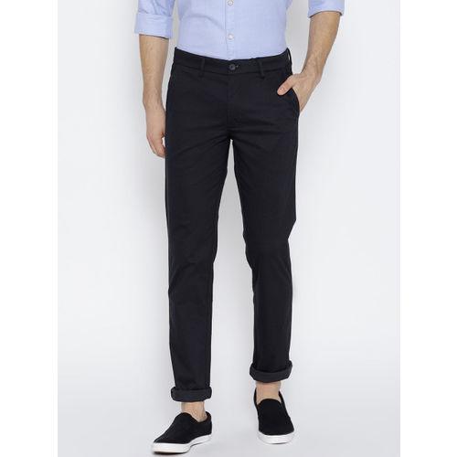 J Hampstead Men Black Self Design Dover Slim Fit Low-Rise Trousers