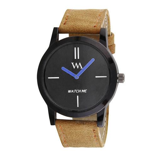 WM Men Black Leather Analogue Watch wmc-002-brrp
