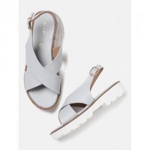Mast & Harbour Grey Solid Open Toe Flats
