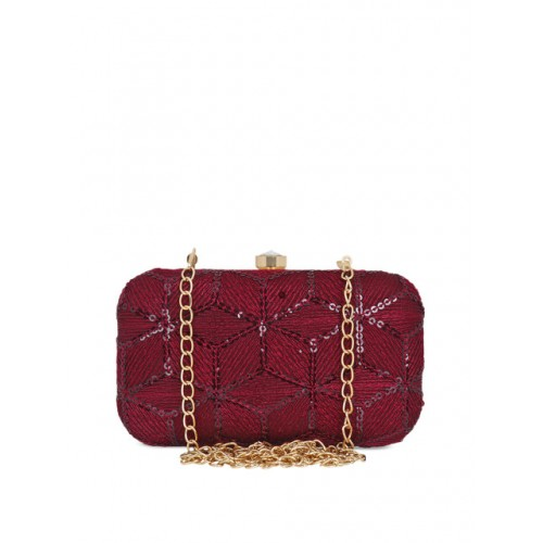 Anekaant Women Maroon Embellished Clutches