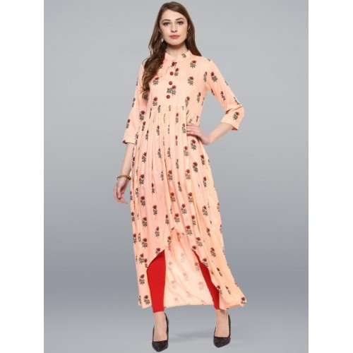 Janasya Peach & Red Rayon Printed Anarkali Kurta