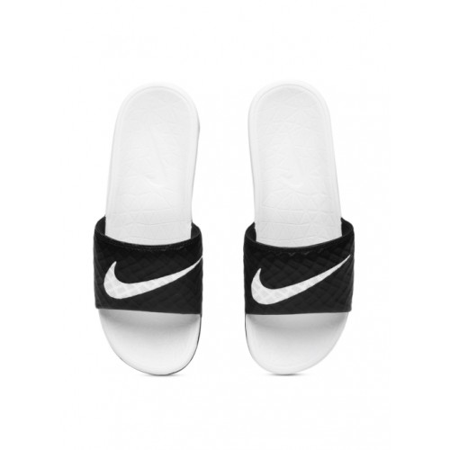 the best attitude f319d 09234 Buy Nike Black & White Rubber Slip-on Flat Flip Flops online ...