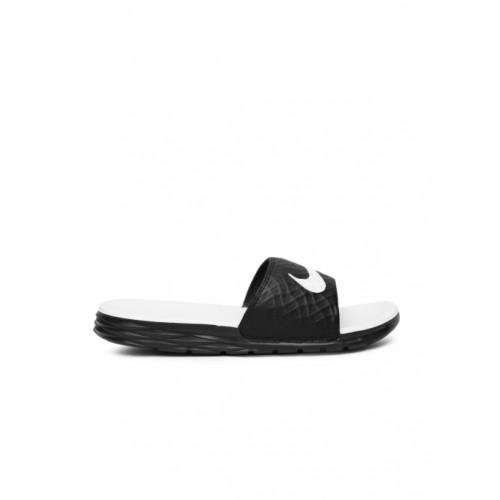 Nike Black & White Rubber Slip-on Flat Flip Flops