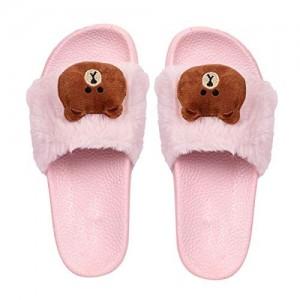 Brauch Pink Rubber Fur Bear Sliders