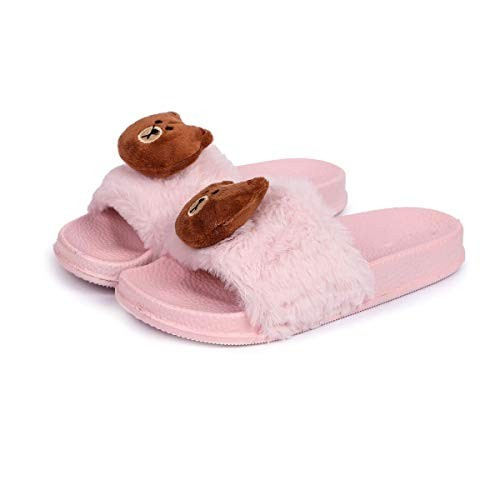 Brauch Pink Rubber Fur Bear Sliders