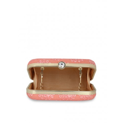 Anekaant Peach-Coloured Embroidered Clutch