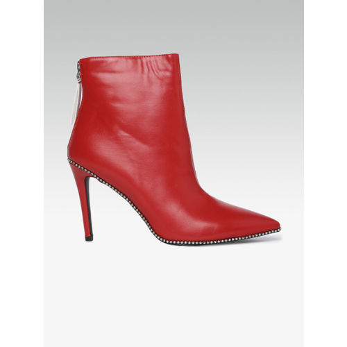Carlton London Women Red Solid Heeled Boots