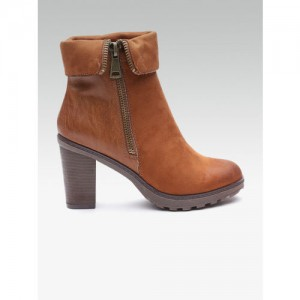 Carlton London Women Brown Solid Heeled Boots