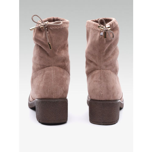 Carlton London Women Dusty Pink Mid-Top Solid Heeled Boots