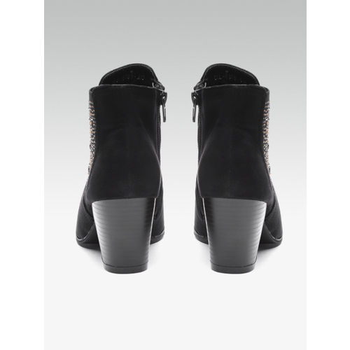 Carlton London Black Synthetic Solid Heeled Boots