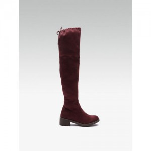 Carlton London Women Maroon High-Top Solid Heeled Boots