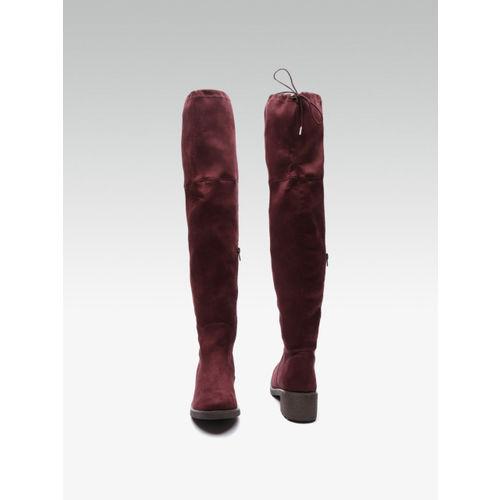 Carlton London Women Maroon High-Top Solid Heeled Boots
