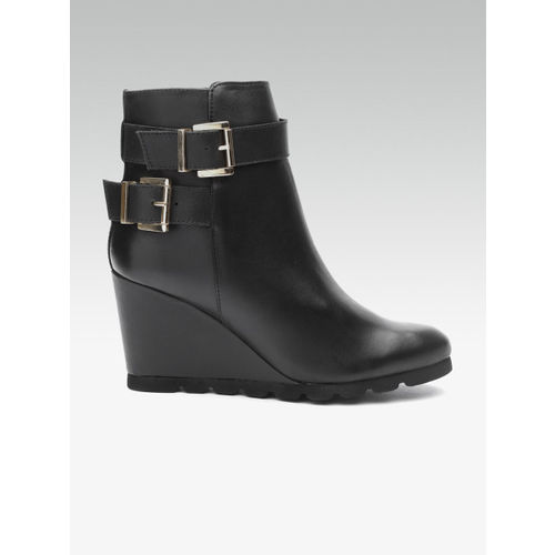 Carlton London Women Black Solid Mid-Top Heeled Boots with Buckle Detail