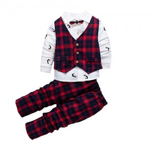 Si Noir by Hopscotch Boys Poly Cotton Checks Waistcoat with T-Shirt Attached Bow and Pant Set in Red Color for Age 4-5 Years