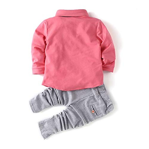 Si Noir by Hopscotch Si Noir Boy's Cotton Specky Shirt and Formal Set Pink